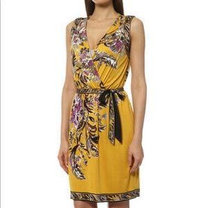 Elie Tahari floral yellow summer faux wrap dress